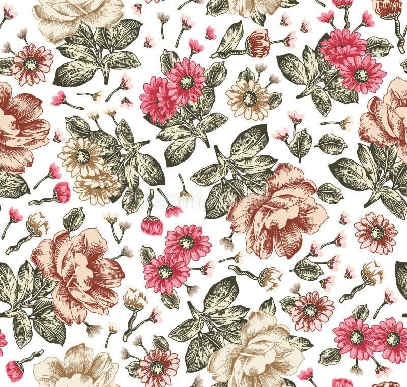 Modelo inconsútil Flores aisladas realistas florecientes hermosas Ejemplo del vector del papel pintado de la peonía de la manzani stock de ilustración