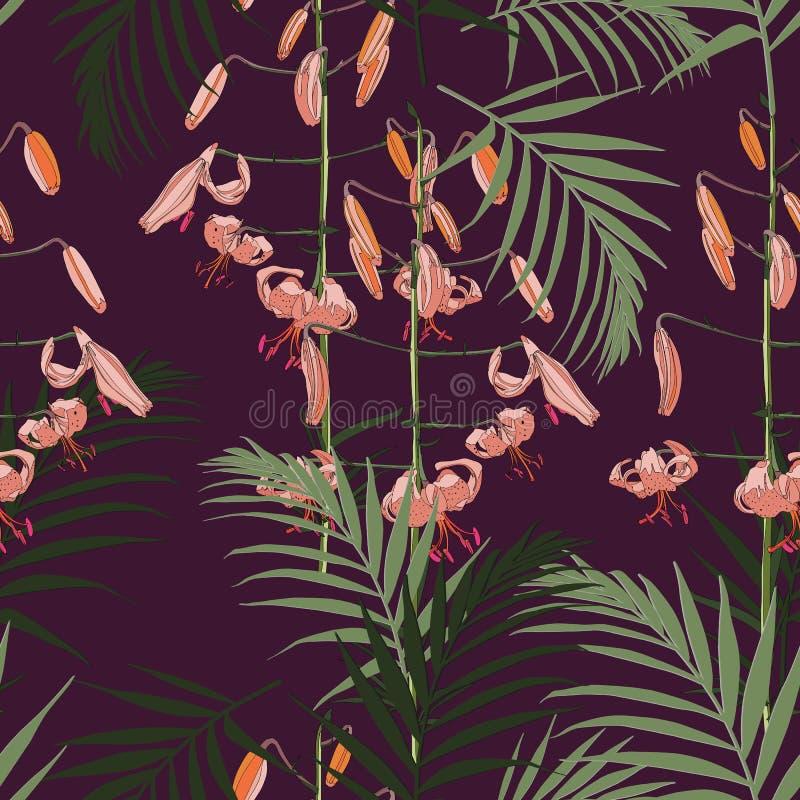 Modelo inconsútil, flores anaranjadas de los lirios y hojas de palma verdes en fondo violeta oscuro ilustración del vector