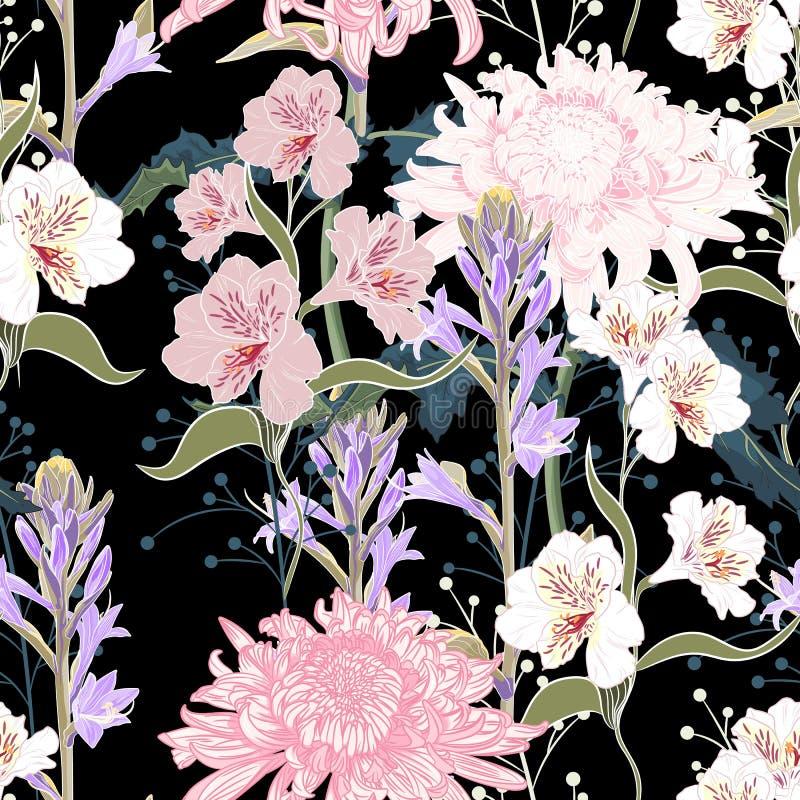 Modelo inconsútil Flores florecientes de la violeta rosada hermosa Fondo negro de la vendimia libre illustration