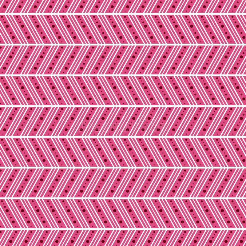 Modelo inconsútil Fondo abstracto geométrico simétrico con las líneas y los puntos en la forma del zigzag en colores rosados stock de ilustración