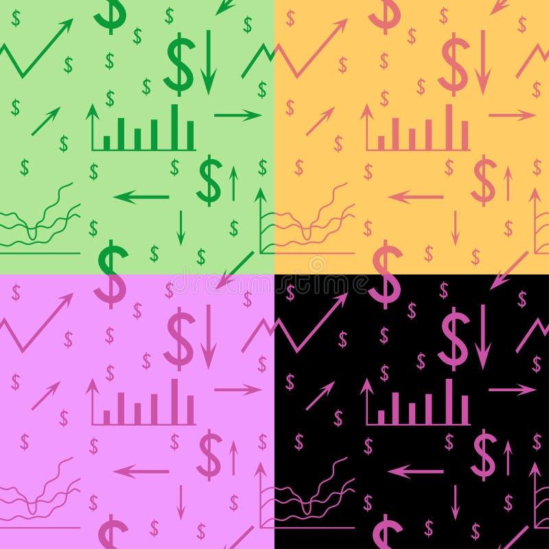 Modelo inconsútil, fondo con el dólar, horario, flecha, carta, sistema de coordenadas ilustración del vector