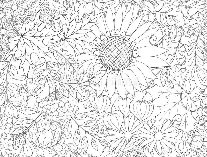 Modelo inconsútil, fondo con las flores del otoño stock de ilustración