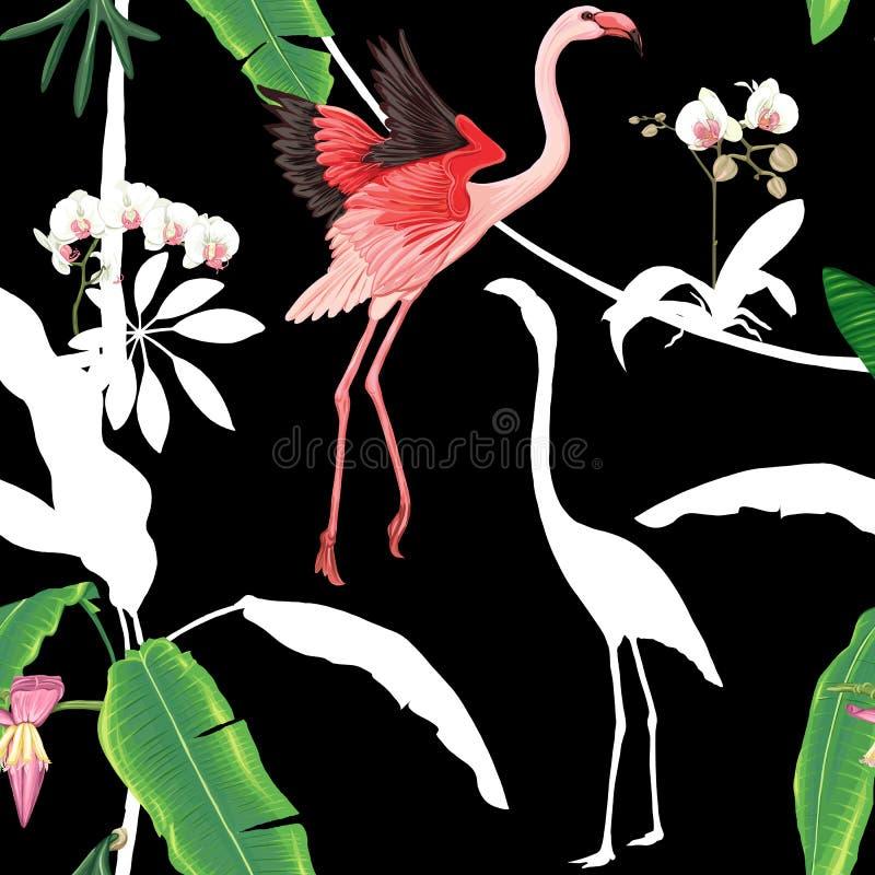 Modelo inconsútil, fondo con las plantas tropicales y las flores con las flores blancas de la orquídea y los pájaros tropicales n ilustración del vector