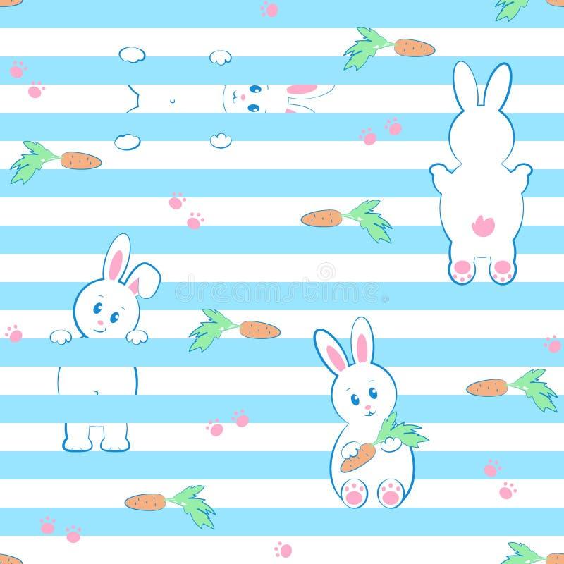 Modelo inconsútil, fondo con los conejos, zanahorias y patas para pascua y otros días de fiesta libre illustration