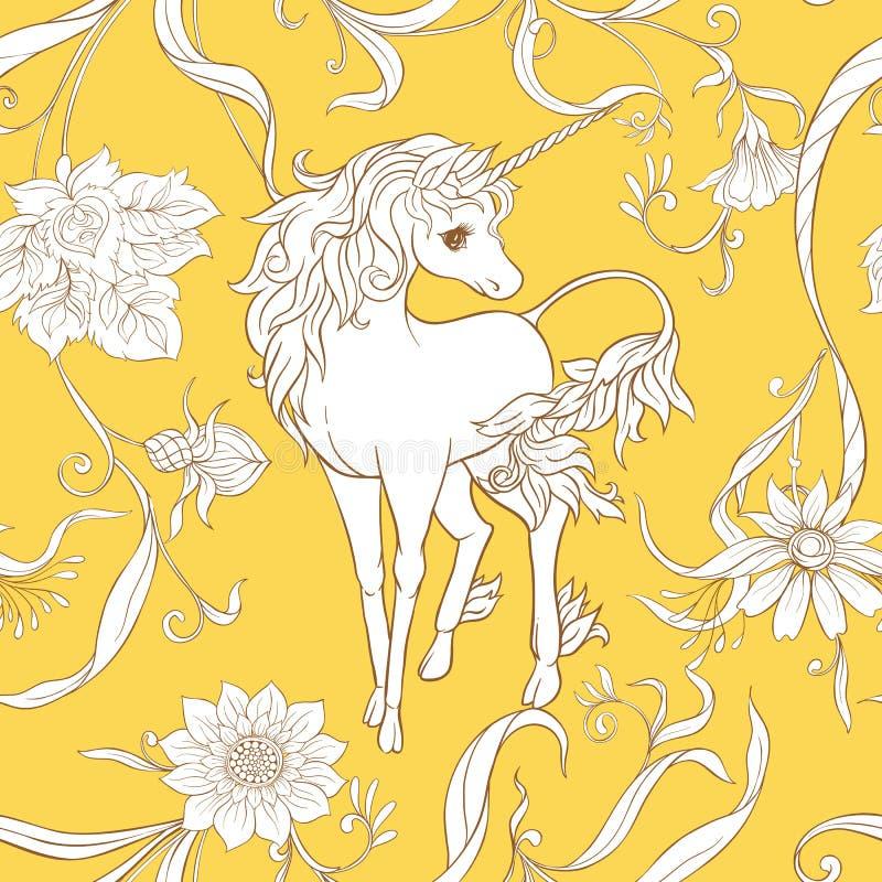 Modelo inconsútil, fondo con unicornio stock de ilustración