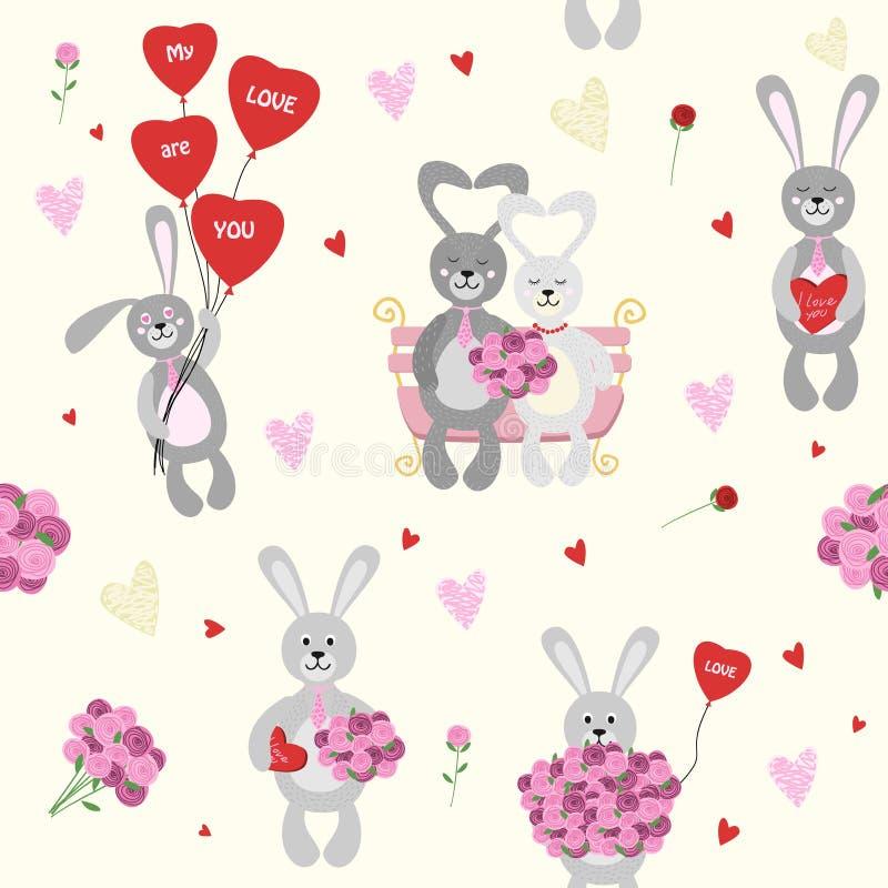 Modelo inconsútil, fondo Fije a la tarjeta del día de San Valentín del conejo con un ramo de flores y de globos ilustración del vector