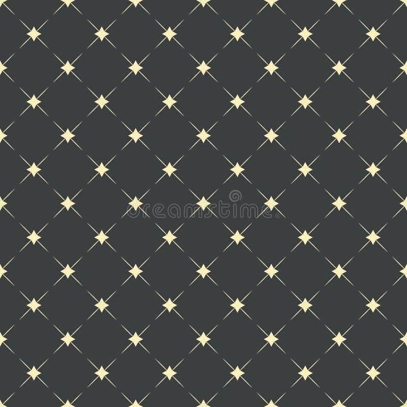 Modelo inconsútil, fondo geométrico de la moda Estrellas de oro con las líneas diagonales en el contexto gris oscuro ilustración del vector