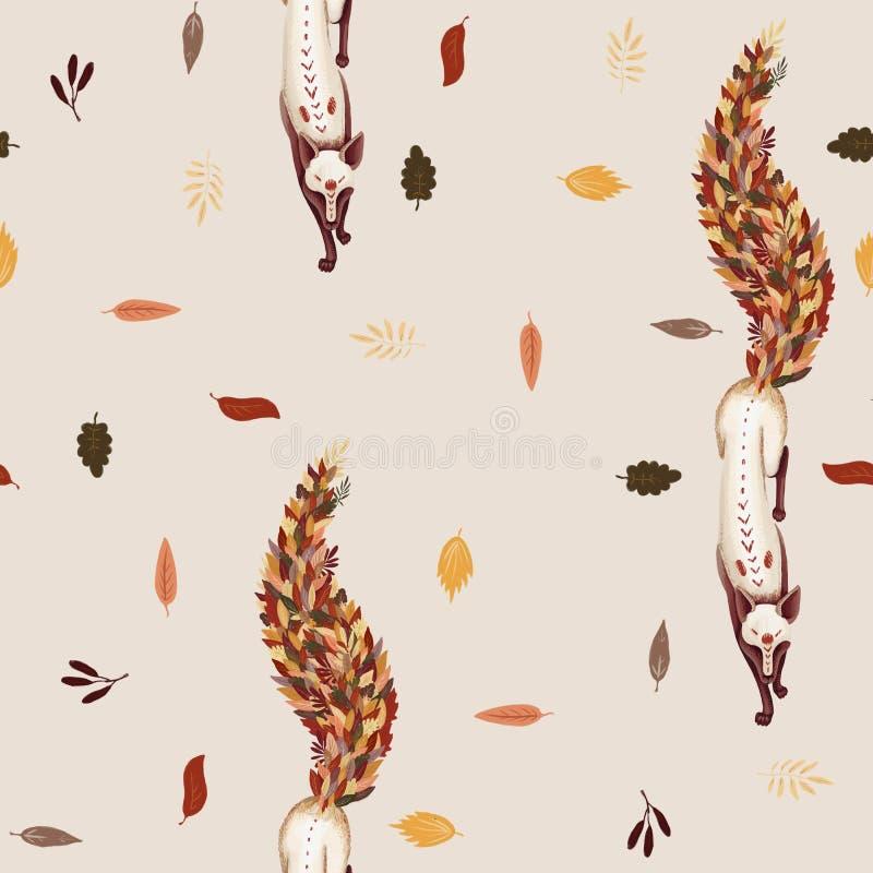 Modelo inconsútil Fox con la cola de las hojas de otoño caidas Caída de la hoja En un fondo beige ligero Caída de la hoja stock de ilustración