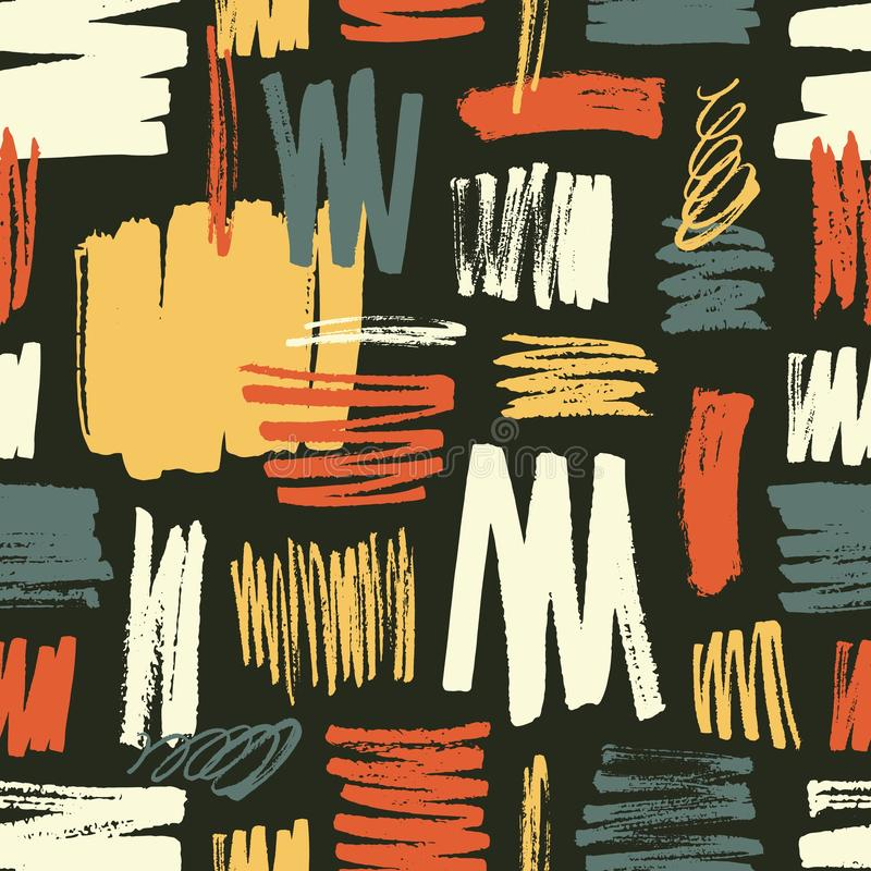 Modelo inconsútil fresco con pinceladas amarillas, rojas, azules en fondo negro Contexto vibrante con los rastros ásperos de la p stock de ilustración