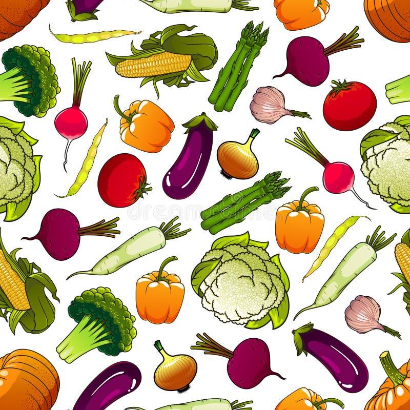 Modelo inconsútil fresco sano de las verduras ilustración del vector