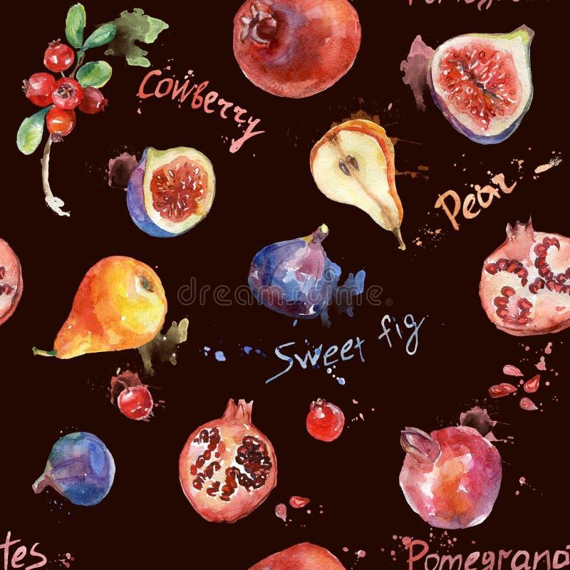 Modelo inconsútil Fruta colorida de la acuarela stock de ilustración