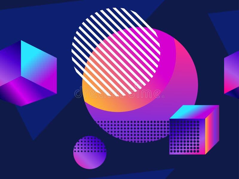 Modelo inconsútil futurista con formas geométricas Pendiente con tonos púrpuras forma isométrica 3d Fondo retro de Synthwave ilustración del vector