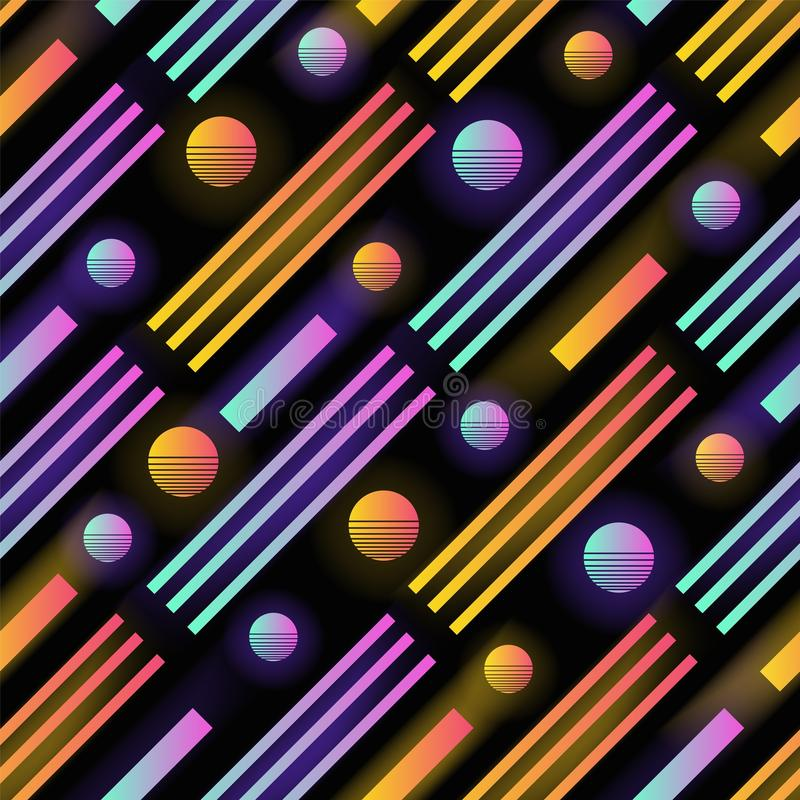 Modelo inconsútil futurista con los círculos coloreados de la pendiente que brillan intensamente, las rayas y las líneas paralela libre illustration