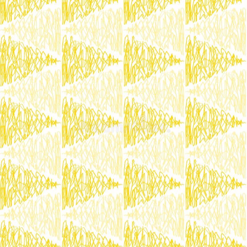 Modelo inconsútil garabateado de los triángulos amarillos ilustración del vector