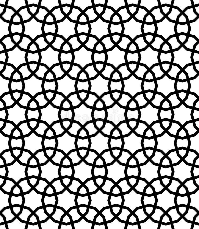 Modelo inconsútil geométrico árabe blanco y negro, vector stock de ilustración