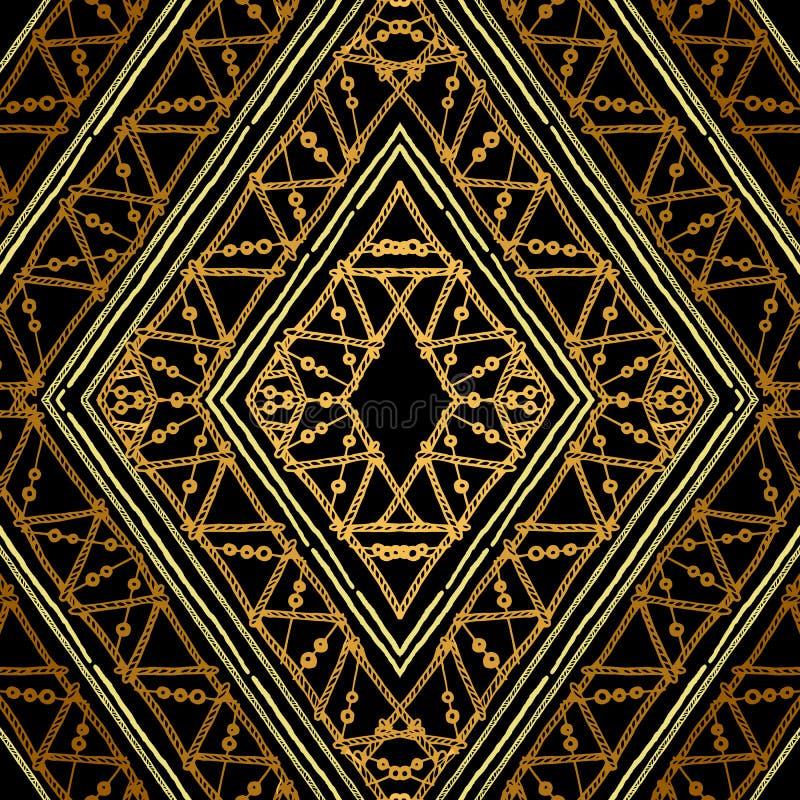 Modelo inconsútil geométrico étnico de oro stock de ilustración