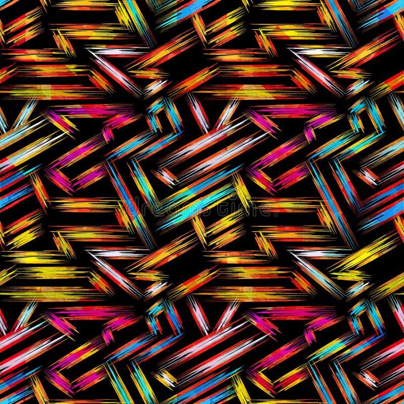 Modelo inconsútil geométrico abstracto brillante en estilo de la pintada ejemplo del vector de la calidad para su diseño stock de ilustración