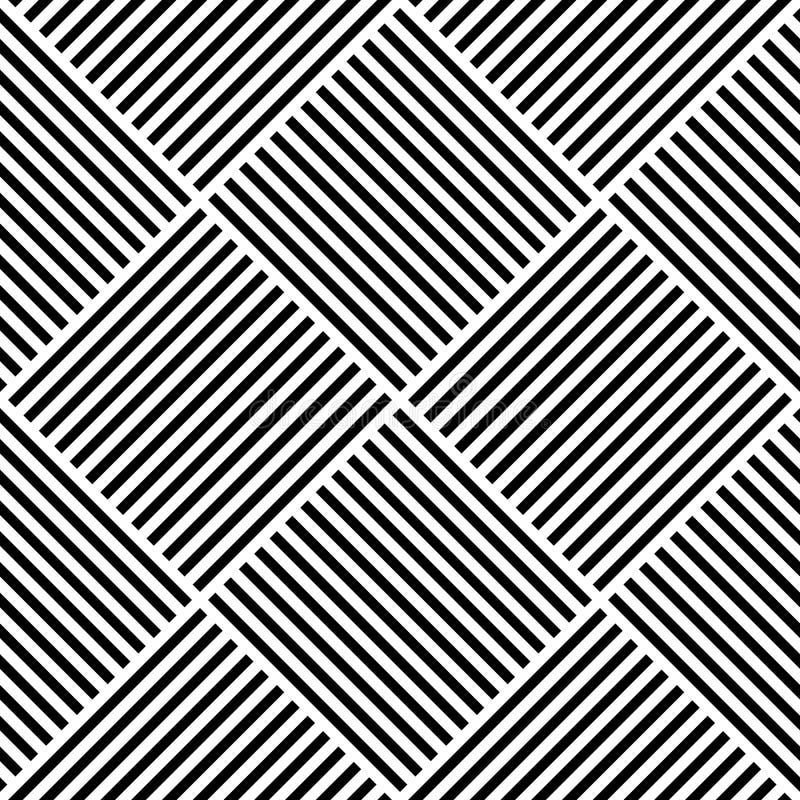 Modelo inconsútil geométrico abstracto del vector Tela de materia textil que teje con las líneas rectas cruzadas blancos y negros stock de ilustración