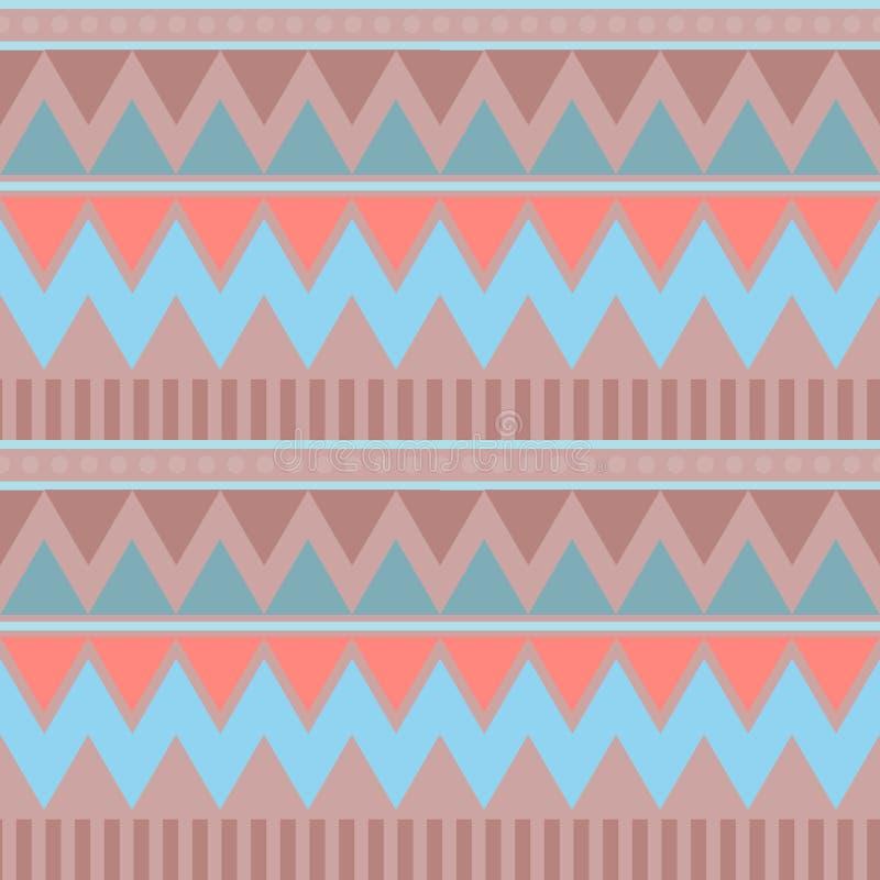 Modelo inconsútil geométrico abstracto Estilo azteca con el triángulo y la línea modelo tribal de Navajo pri geométrico marrón ro libre illustration