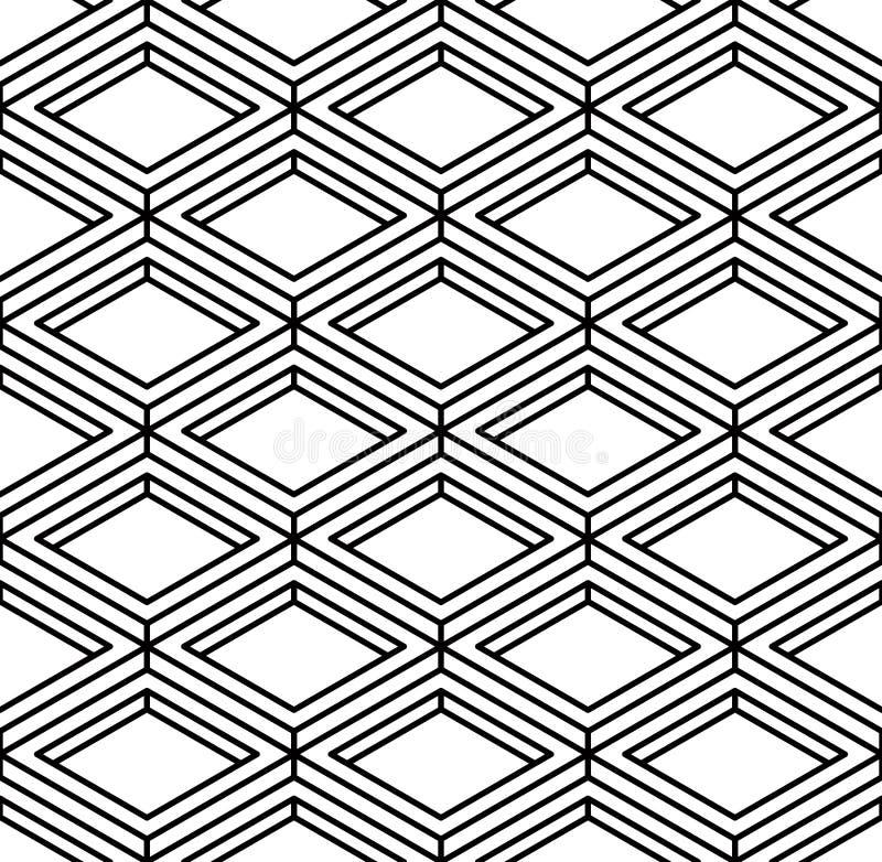Modelo inconsútil geométrico abstracto ilusorio blanco y negro 3d imágenes de archivo libres de regalías