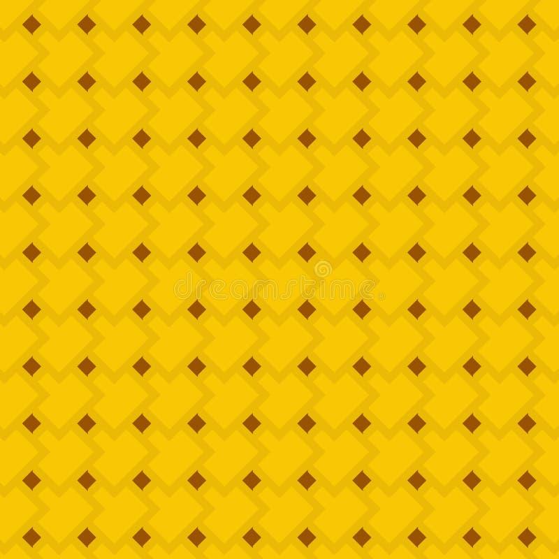 Modelo inconsútil geométrico amarillo y marrón de oro de rectángulos y de Rhombus stock de ilustración