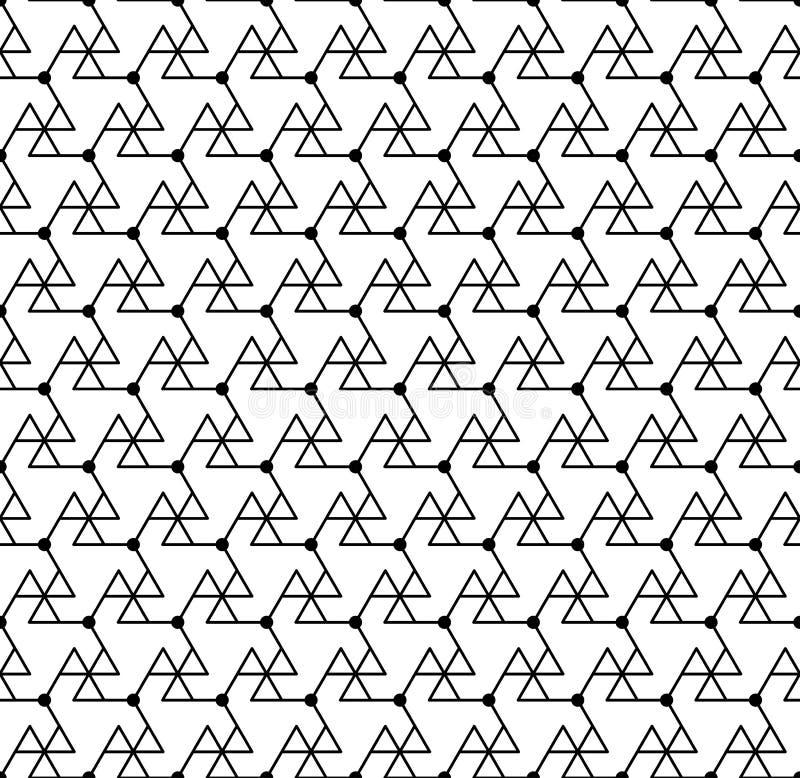 Modelo inconsútil geométrico blanco y negro con la línea, triángulo a stock de ilustración