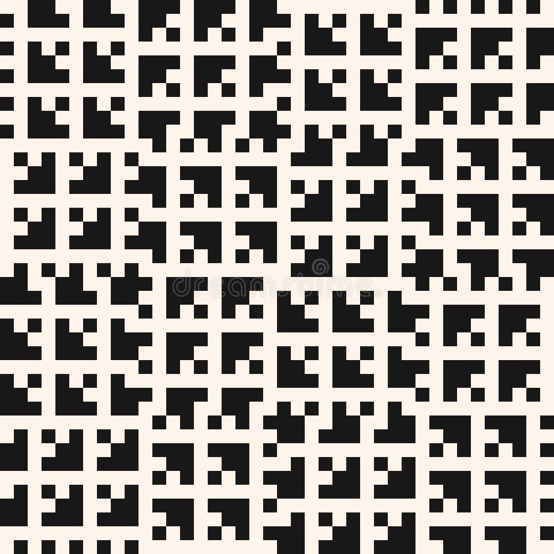 Modelo incons?til geom?trico blanco y negro del vector con los peque?os cuadrados, tejas ilustración del vector
