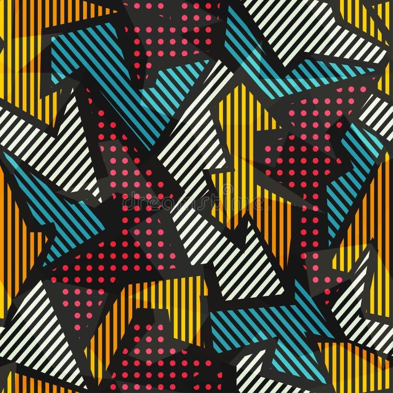 Modelo inconsútil geométrico coloreado stock de ilustración