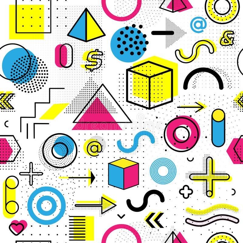 Modelo inconsútil geométrico de Memphis para la moda y el papel pintado Geométrico decorativo colorido universal ilustración del vector