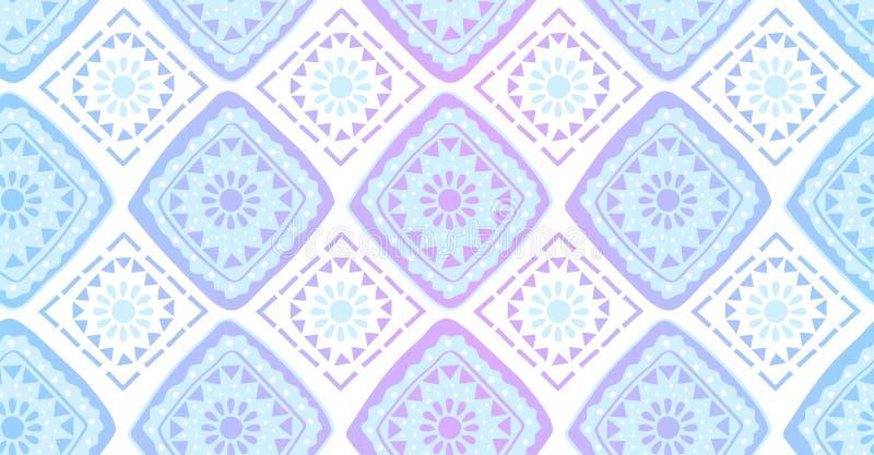 Modelo inconsútil geométrico del arco iris violeta azul en estilo africano libre illustration