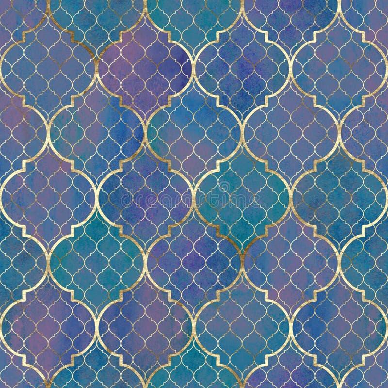 Modelo inconsútil geométrico del extracto de la acuarela Tejas árabes Efecto del caleidoscopio Textura de mosaico del vintage del ilustración del vector