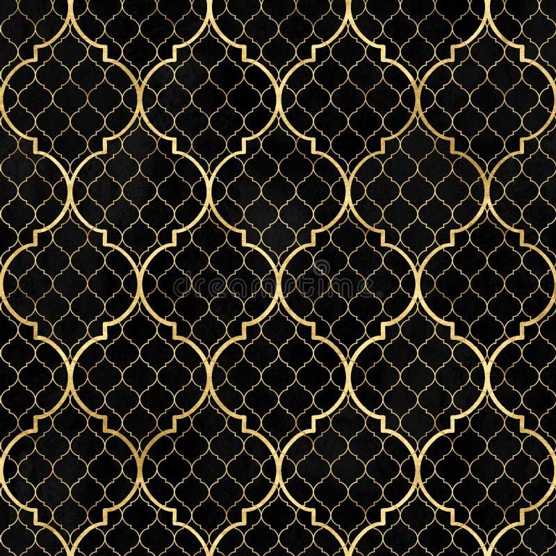 Modelo inconsútil geométrico del extracto de la acuarela Tejas árabes Efecto del caleidoscopio Textura de mosaico del vintage del stock de ilustración