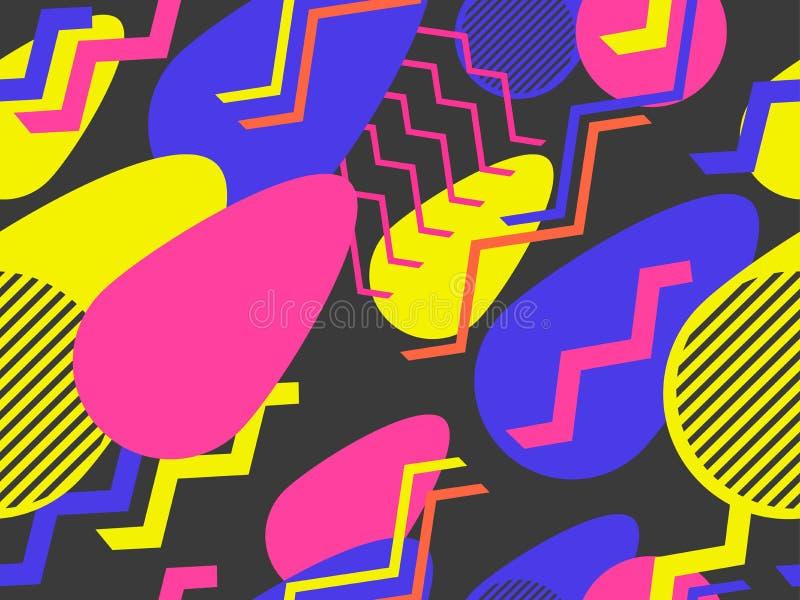 Modelo inconsútil geométrico del extracto en el estilo de Memphis de los años 80 Fondo para el papel de embalaje, la impresión, l libre illustration