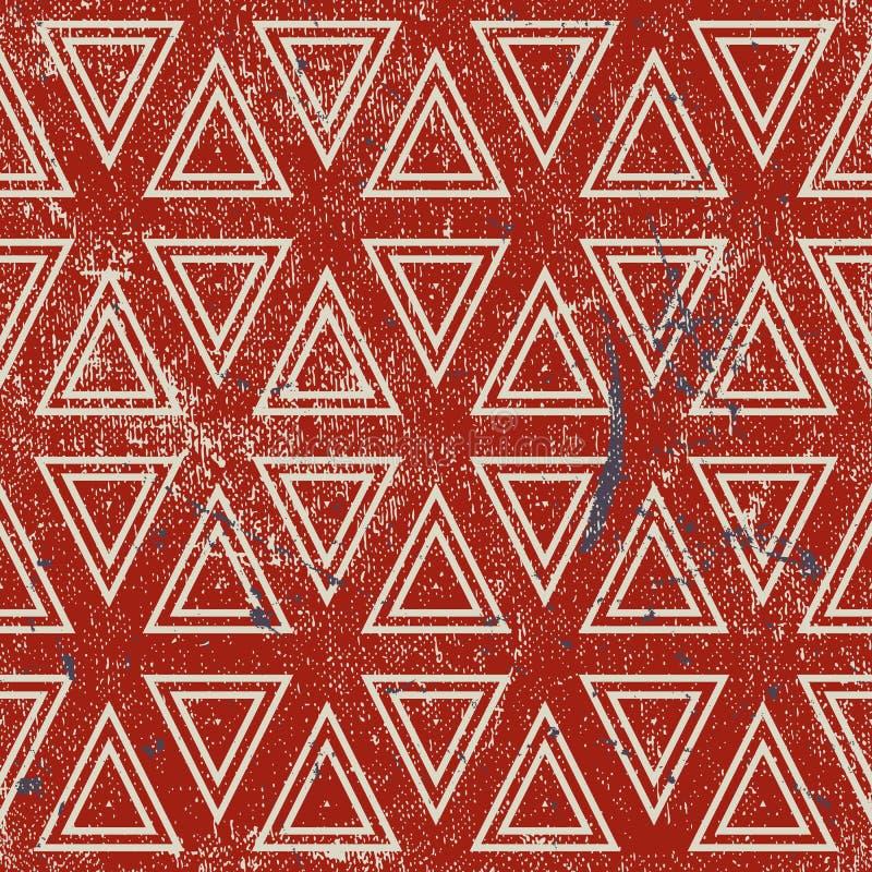 Modelo inconsútil geométrico del Grunge, backgro de la repetición del vector del vintage stock de ilustración
