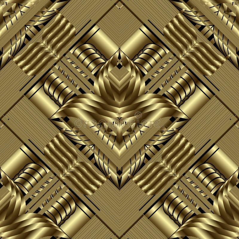 Modelo inconsútil geométrico del oro 3d Fondo rayado del vector adornado Contexto floral del oro de la repetición del Grunge pape stock de ilustración
