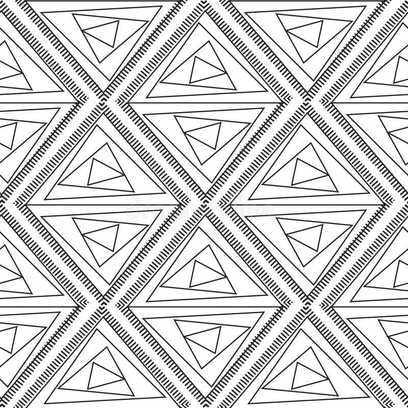 Modelo inconsútil geométrico del vector abstracto Geom blanco y negro stock de ilustración