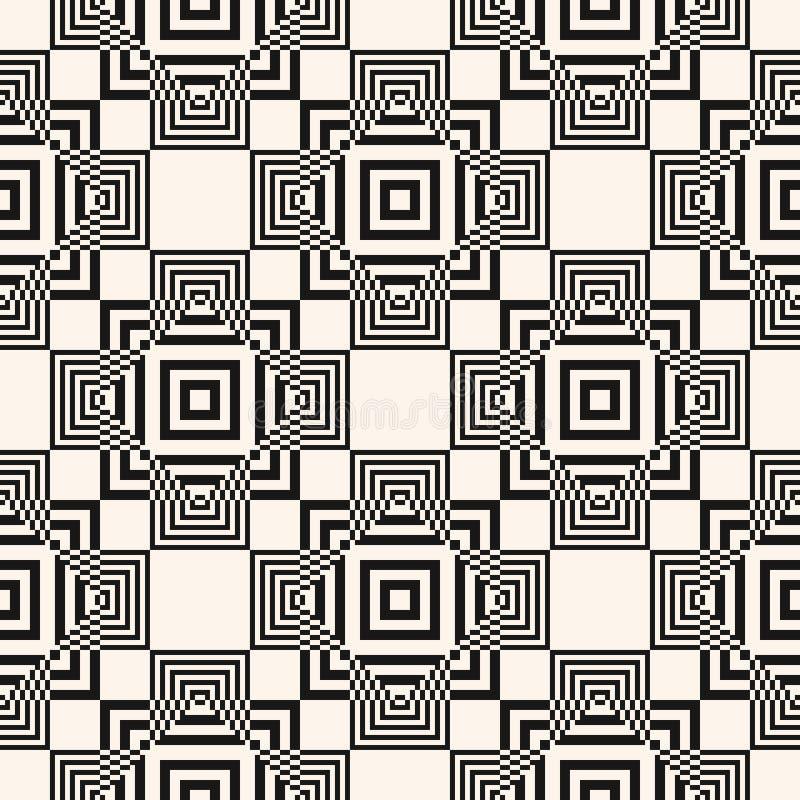 Modelo inconsútil geométrico del vector blanco y negro moderno con los cuadrados, líneas stock de ilustración