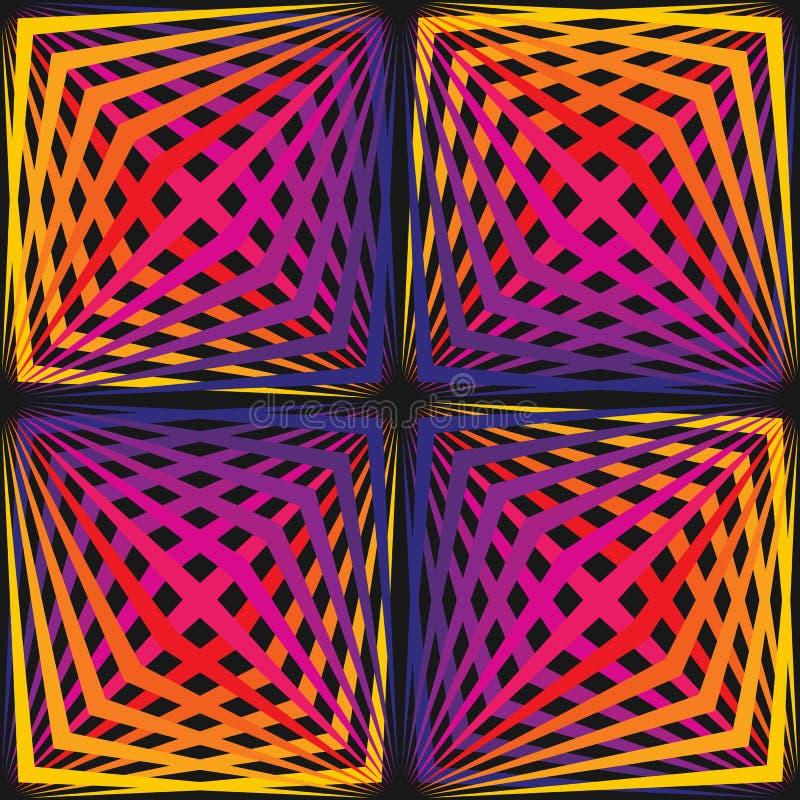 Modelo inconsútil geométrico del vector con las líneas diagonales coloridas estilo 80-90's stock de ilustración