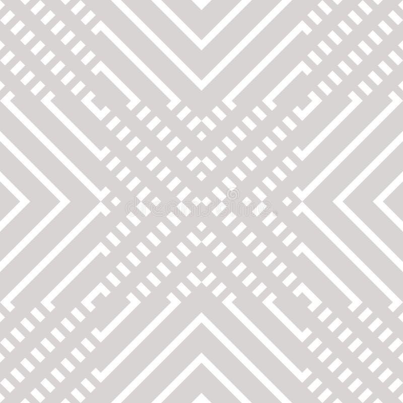 Modelo inconsútil geométrico del vector con las líneas diagonales, cruces Blanco y gris ilustración del vector