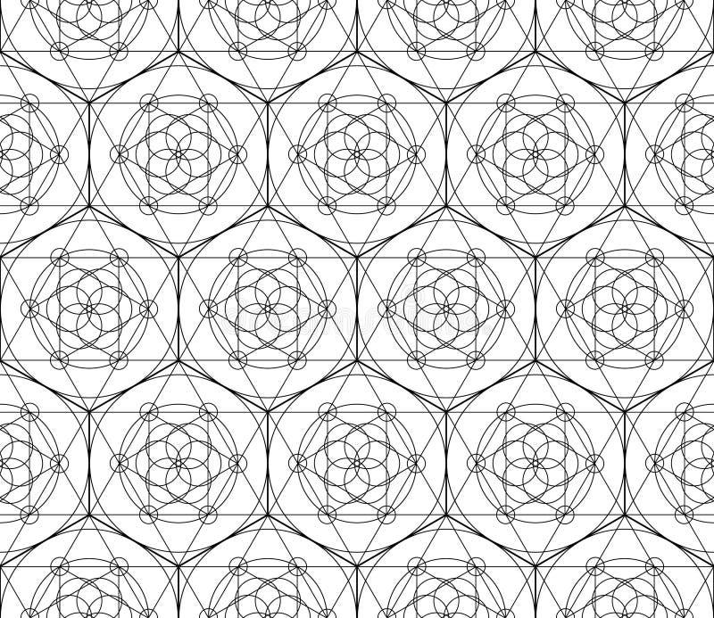 Modelo inconsútil geométrico del vector de la geometría sagrada negra ilustración del vector