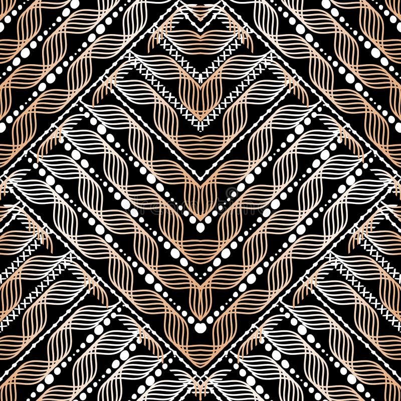 Modelo inconsútil geométrico del vector de ondas St modelado Ornamental stock de ilustración