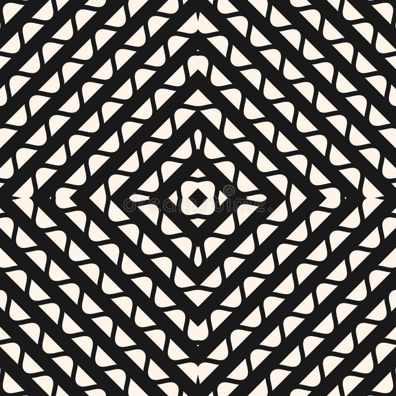 Modelo inconsútil geométrico del vector Textura gráfica con los cuadrados, líneas onduladas, elementos curvados, rejilla del mosa stock de ilustración