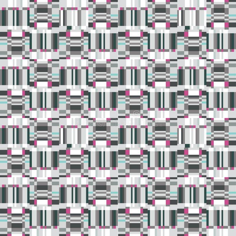 Modelo inconsútil geométrico del volante abstracto Textura del centelleo del pixel stock de ilustración