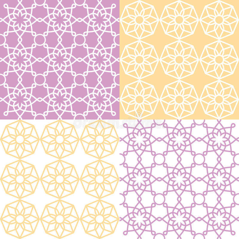 Modelo inconsútil geométrico, estilo árabe del ornamento, diseño tejado en púrpura y amarillo libre illustration