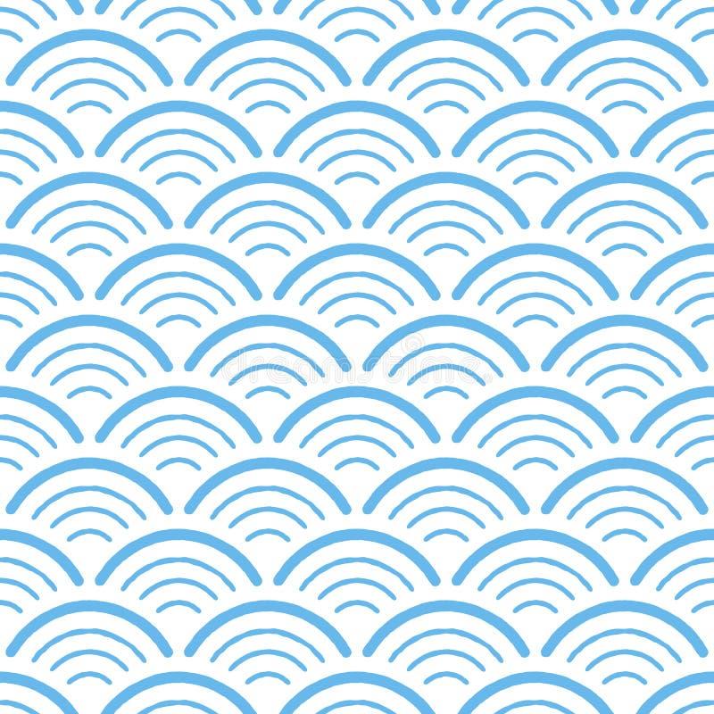 Modelo inconsútil geométrico exhausto de la mano - arcos azules libre illustration