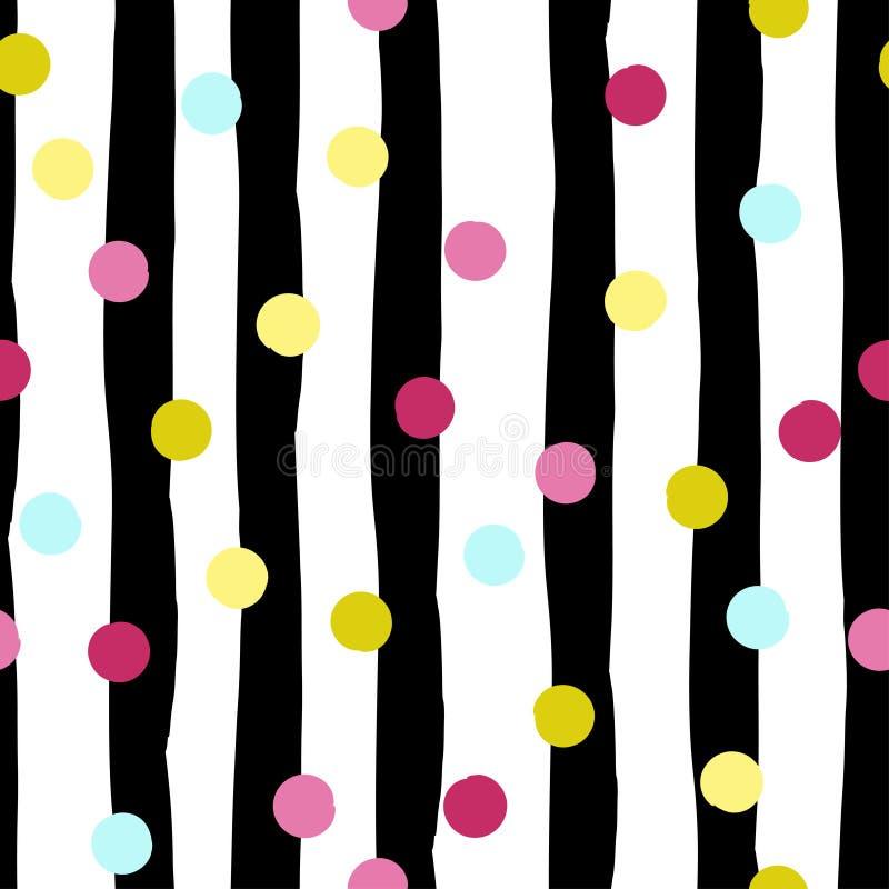 Modelo inconsútil geométrico lindo Lunares y rayas Movimientos del cepillo Textura dibujada mano del grunge Formas abstractas end libre illustration