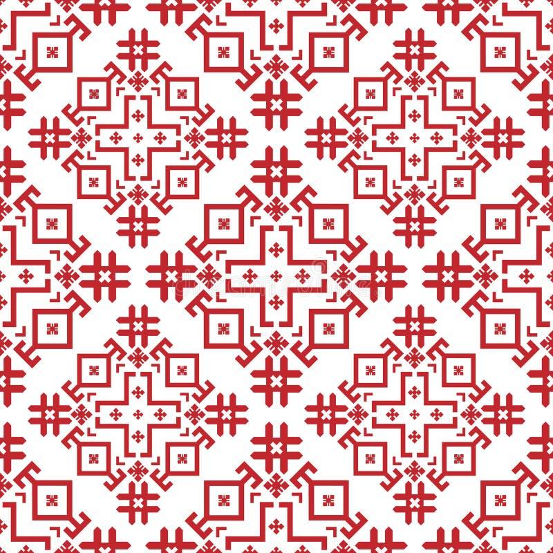 modelo inconsútil geométrico Rojo-y-blanco en el estilo búlgaro libre illustration