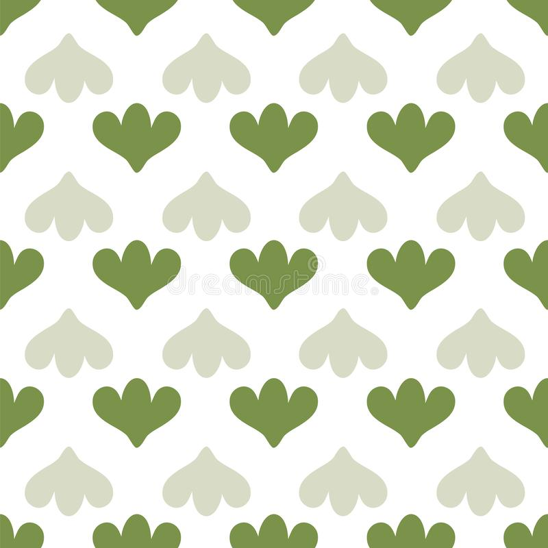 Modelo inconsútil geométrico simple del vector con formas verdes del tulipán en el fondo blanco ilustración del vector
