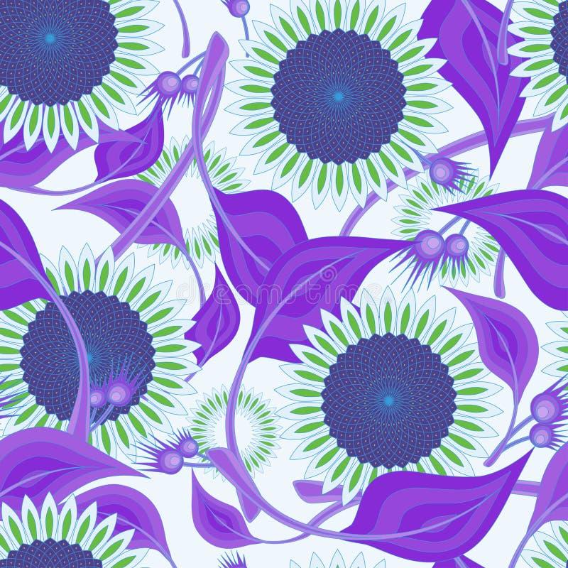 Modelo inconsútil, girasoles con las hojas en tonos púrpuras en un fondo ligero stock de ilustración