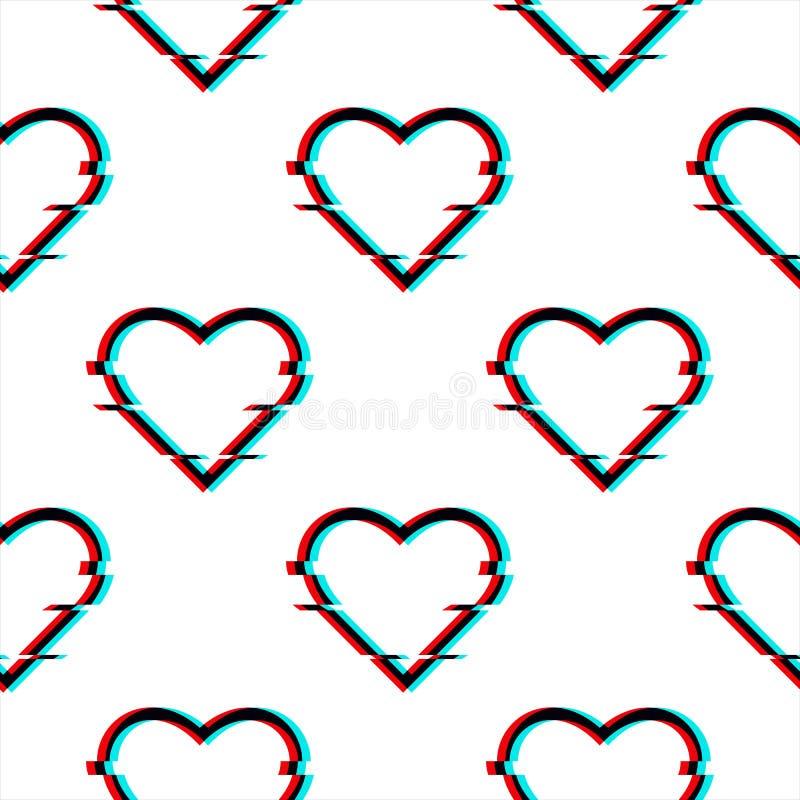 Modelo inconsútil glitched vector con el símbolo del corazón en estilo de la interferencia Icono del amor aislado en el fondo bla libre illustration